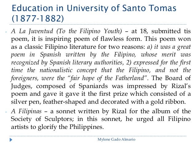 """rizal poems essay Poems of rizal sa aking mga kabata """"to my fellow children"""" a poem about the love of one's native language written in tagalog jose rizal wrote it in 1869 at th."""
