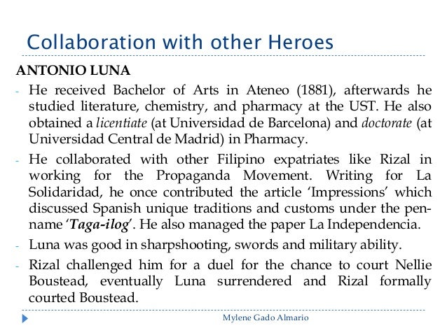 rizal and the expatriates in madrid Rizal's interests and talents, the sum of knowledge acquired by him is  per of filipino expatriates in barcelona and later madrid, published.