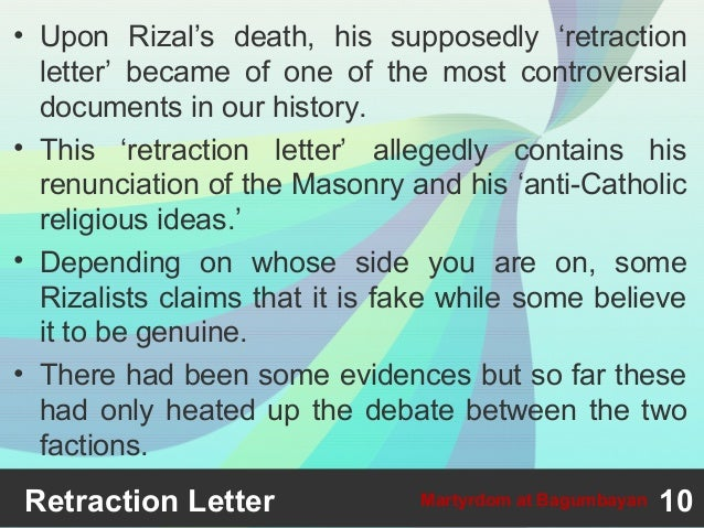 Rizal's Retraction Letter