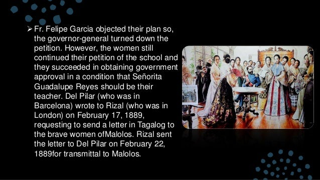 reaction paper to the young women of malolos by jose rizal To the young women of malolos  the president of la solidaridad was rizal's cousin,  aside from being simple, is clear: to combat reaction,.