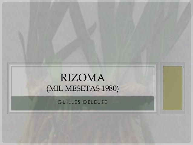 RIZOMA(MIL MESETAS 1980)  GUILLES DELEUZE