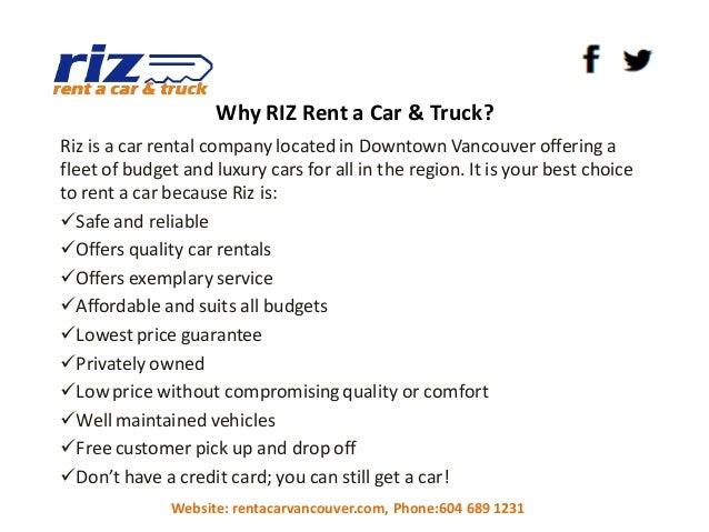 Rent Car No Credit Card Vancouver
