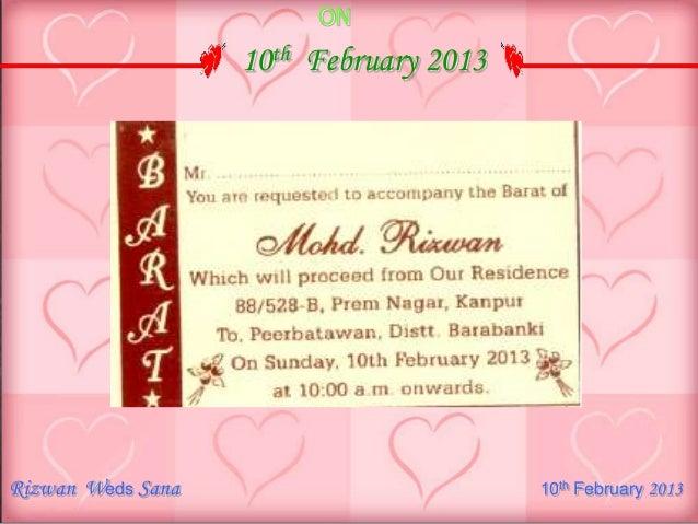 Rizwan wedding invitation 100213ppt rizwan weds sana 10th february 2013 7 stopboris Choice Image