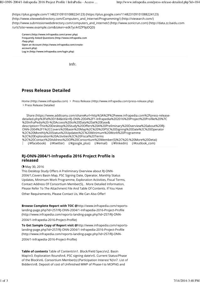 RJ-ONN-2004/1-Infrapedia 2016 Project Profile | InfraPedia - Access ... http://www.infrapedia.com/press-release-detailed.p...