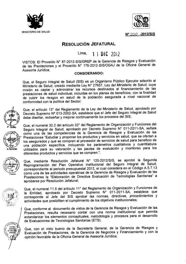 Directiva Administrativa que norma el Proceso de Evaluación de Tecnologías Sanitarias del SIS