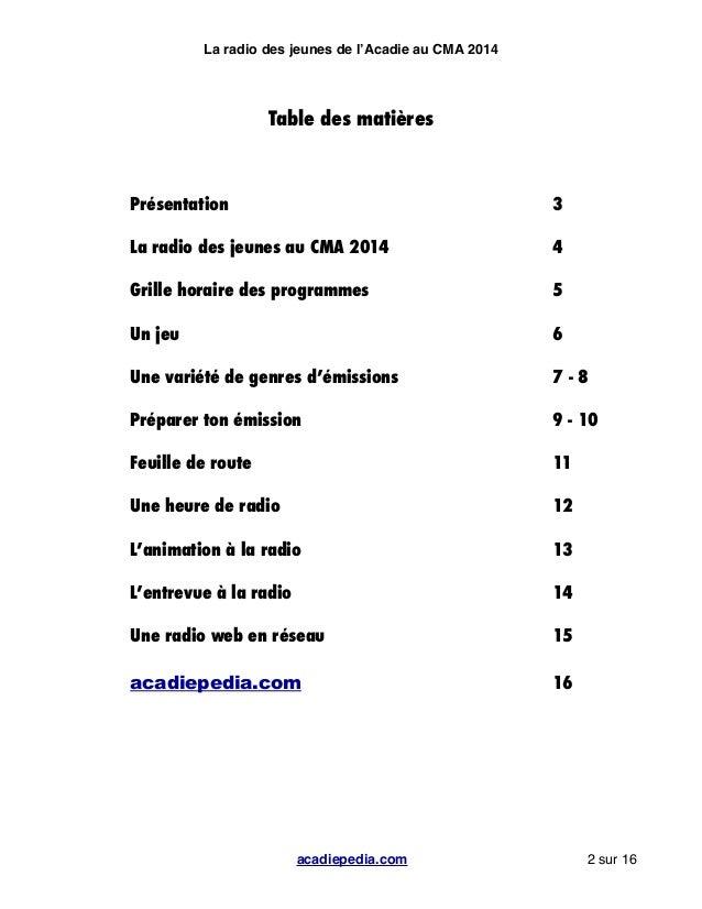 Radio des Jeunes d'Acadiepédia - Cahier de production Slide 2