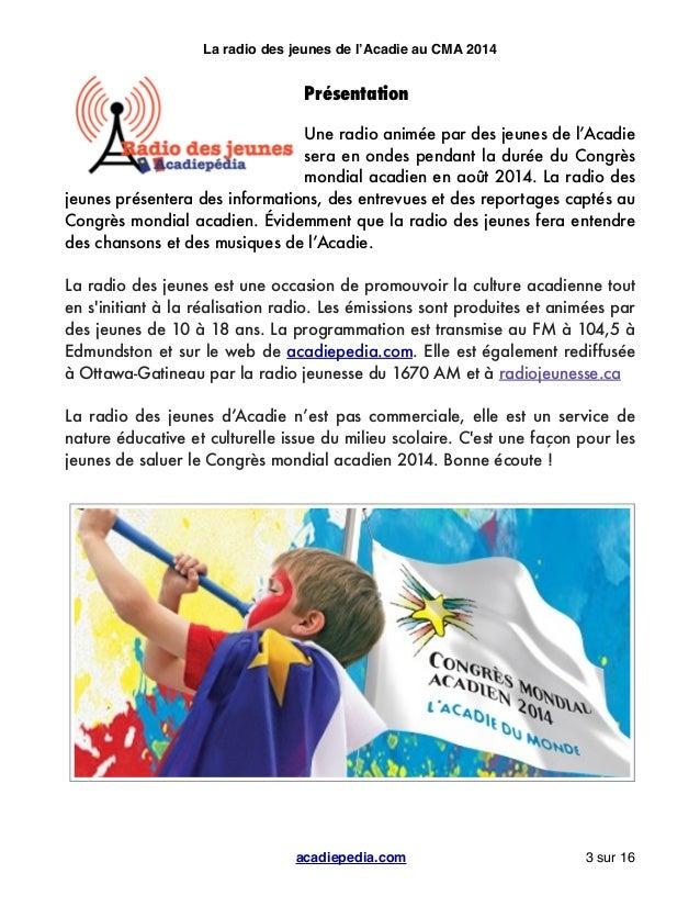 Radio des Jeunes d'Acadiepédia - Cahier de production Slide 3