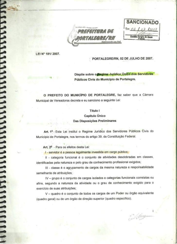 Regime Jurídico Único dos Servidores Públicos Civis do Municipio de Portalegre-RN