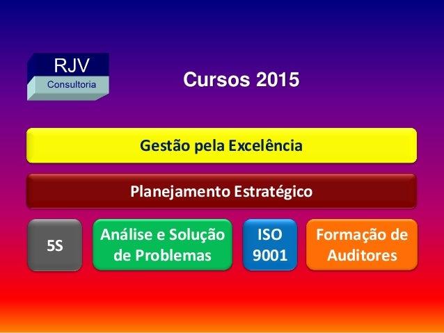 Planejamento Estratégico Formação de Auditores ISO 9001 5S Gestão pela Excelência Análise e Solução de Problemas Cursos 20...