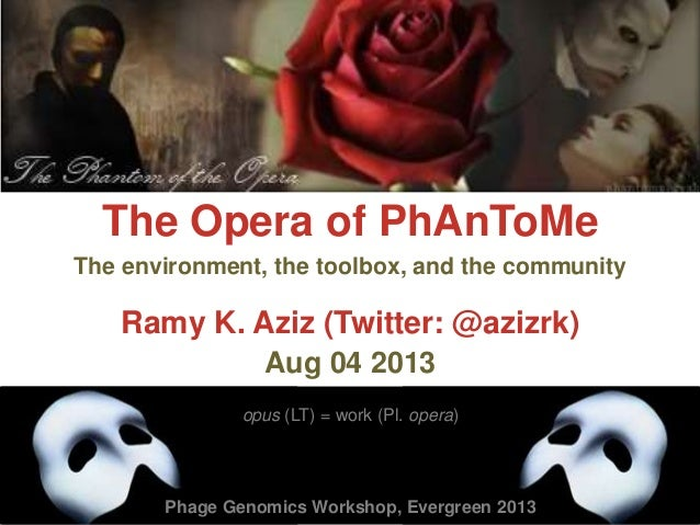 The Opera of PhAnToMe Ramy K. Aziz (Twitter: @azizrk) Aug 04 2013 opus (LT) = work (Pl. opera) The environment, the toolbo...