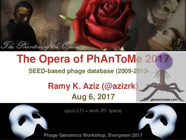 The Opera of PhAnToMe 2017 Ramy K. Aziz (@azizrk) Aug 6, 2017 opus (LT) = work (Pl. opera) SEED-based phage database (2009...