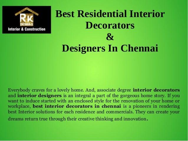 Best residential interior decorators designers in chennai for Interior designers courses in chennai