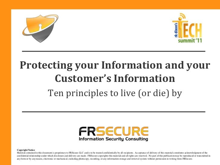 Protecting your Information and your         Customer's Information                               Ten principles to live (...