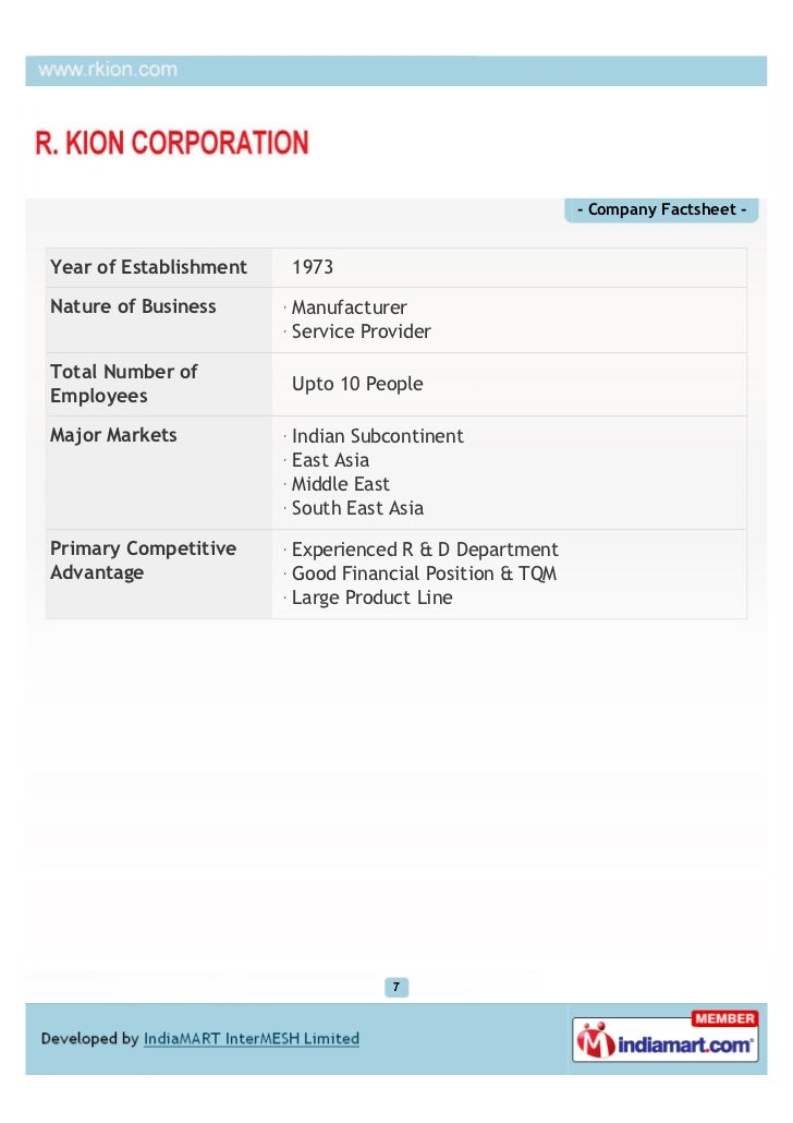- Company Factsheet -Year of Establishment   1973Nature of Business      Manufacturer                        Service Provi...