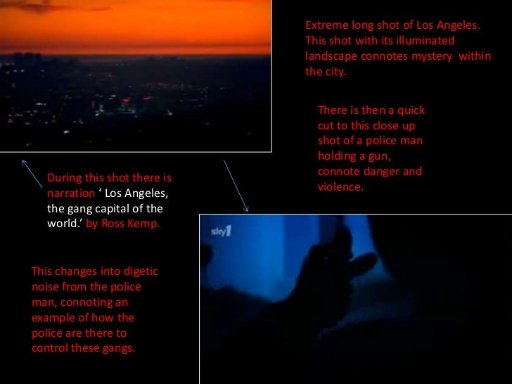 Extreme long shot of Los Angeles.  This shot with its illuminated landscape connotes mystery  within the city. <br />There...