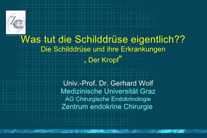 """Was tut die Schilddrüse eigentlich?? Die Schilddrüse und ihre Erkrankungen """" Der Kropf """" <ul><ul><li>Univ.-Prof. Dr. Gerha..."""