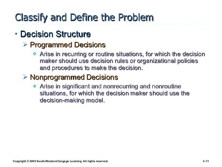 Classify and Define the Problem <ul><li>Decision Structure </li></ul><ul><ul><li>Programmed Decisions </li></ul></ul><ul><...