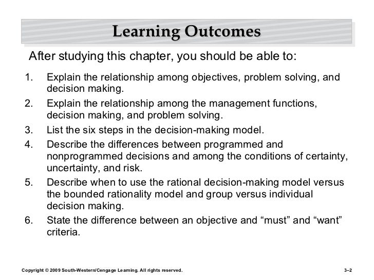 Learning Outcomes <ul><li>Explain the relationship among objectives, problem solving, and decision making. </li></ul><ul><...