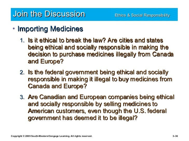 Join the Discussion Ethics & Social Responsibility   <ul><li>Importing Medicines </li></ul><ul><ul><li>Is it ethical to br...
