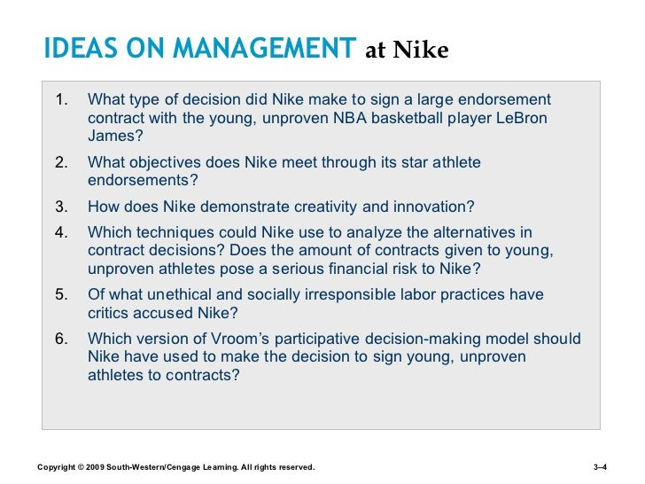 nike decision process Answerscom ® categories business & finance business and industry industries and professions companies nike inc is nike centralized or decentralized  decision-making power and to change the.