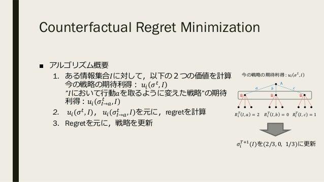 "Counterfactual Regret Minimization ■ アルゴリズム概要 1. ある情報集合𝐼に対して,以下の2つの価値を計算 今の戦略の期待利得︓ 𝑢. 𝜎%, 𝐼 ""𝐼において⾏動𝑎を取るように変えた戦略""の期待 利得︓𝑢..."