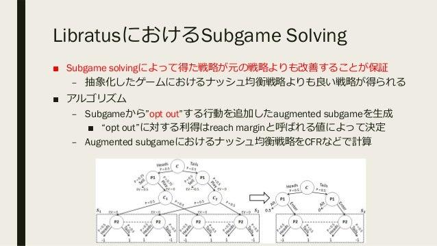 LibratusにおけるSubgame Solving ■ Subgame solvingによって得た戦略が元の戦略よりも改善することが保証 – 抽象化したゲームにおけるナッシュ均衡戦略よりも良い戦略が得られる ■ アルゴリズム – Subga...