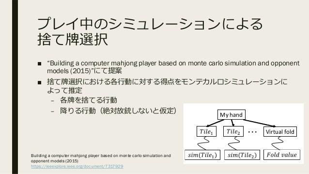 """プレイ中のシミュレーションによる 捨て牌選択 ■ """"Building a computer mahjong player based on monte carlo simulation and opponent models (2015)""""にて..."""