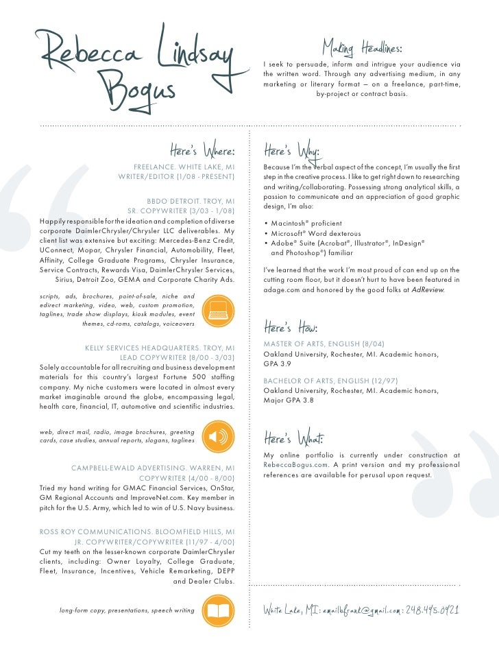 Copywriter Resume Intended For Copywriter Resume