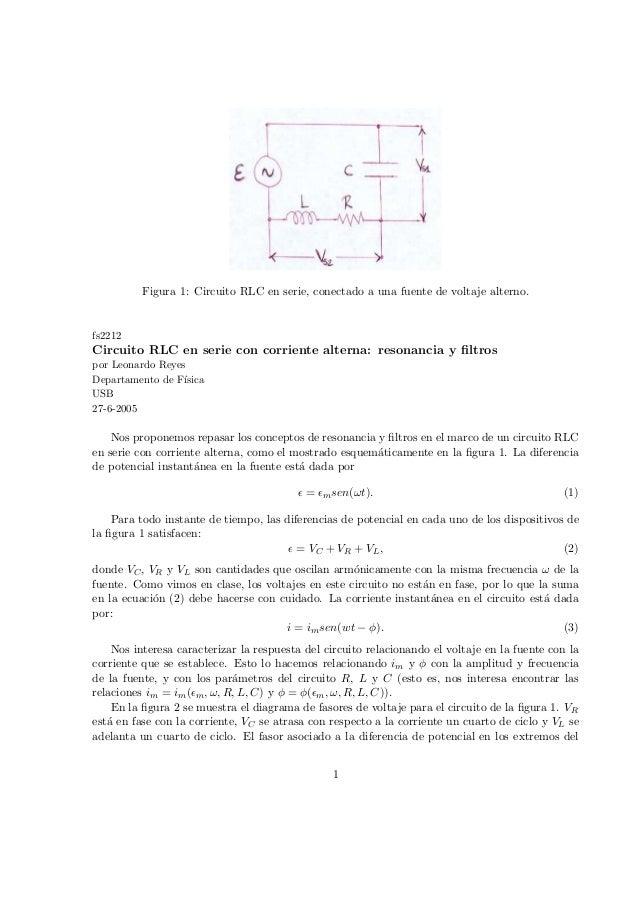 Circuito Rlc Serie : Circuito rlc en serie con corriente alterna resonancia y