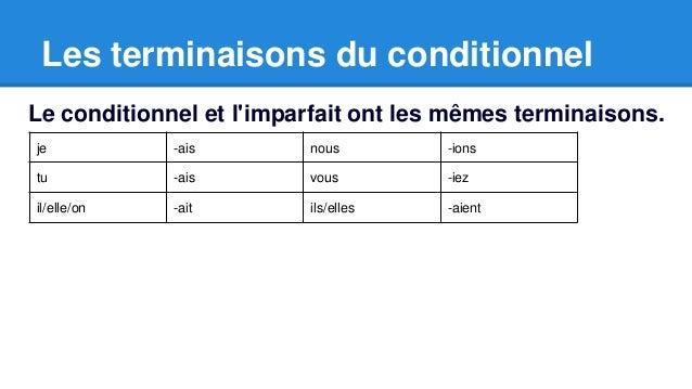 Les terminaisons du conditionnel  Le conditionnel et l'imparfait ont les mêmes terminaisons.  je -ais nous -ions  tu -ais ...