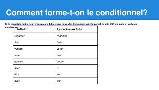 Comment forme-t-on le conditionnel?  Si tu connais la racine des verbes pour le futur et que tu sais les terminaisons de l...