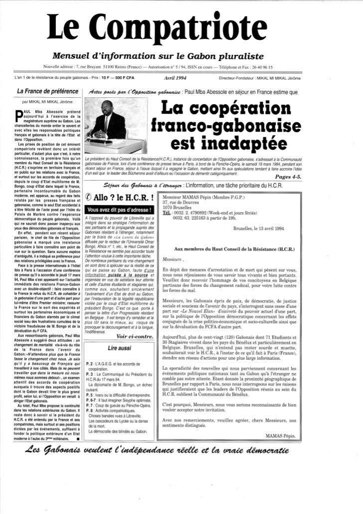 Le Compatriote, mensuel d'information, avril 1994