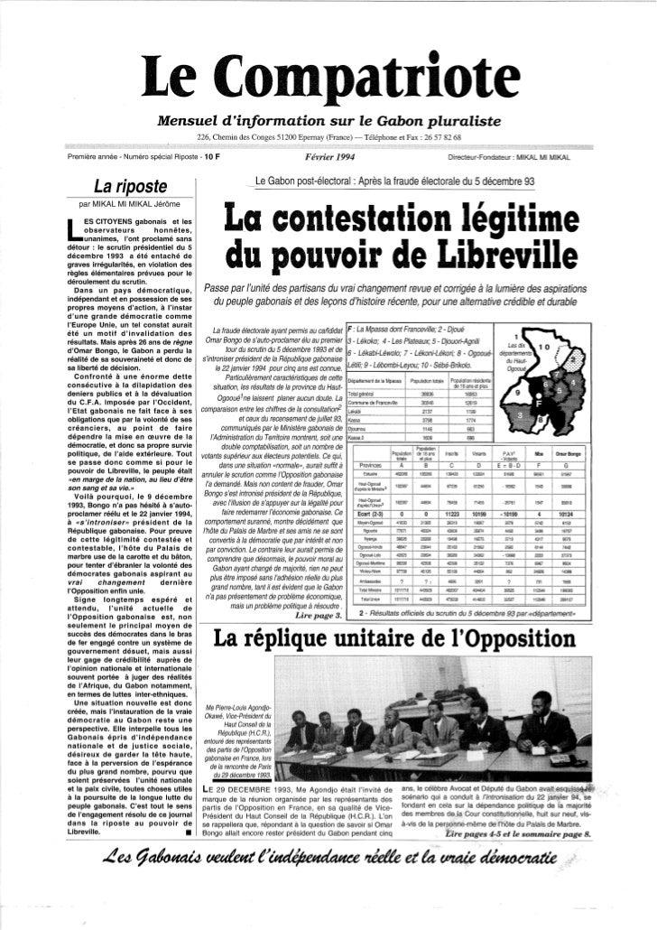 Le Compatriote, mensuel d'information, février 1994