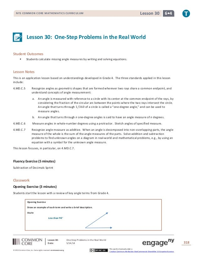 Lesson 30: One-Step Problems in the Real World Date: 5/14/14 318 © 2013 Common Core, Inc. Some rights reserved. commoncore...
