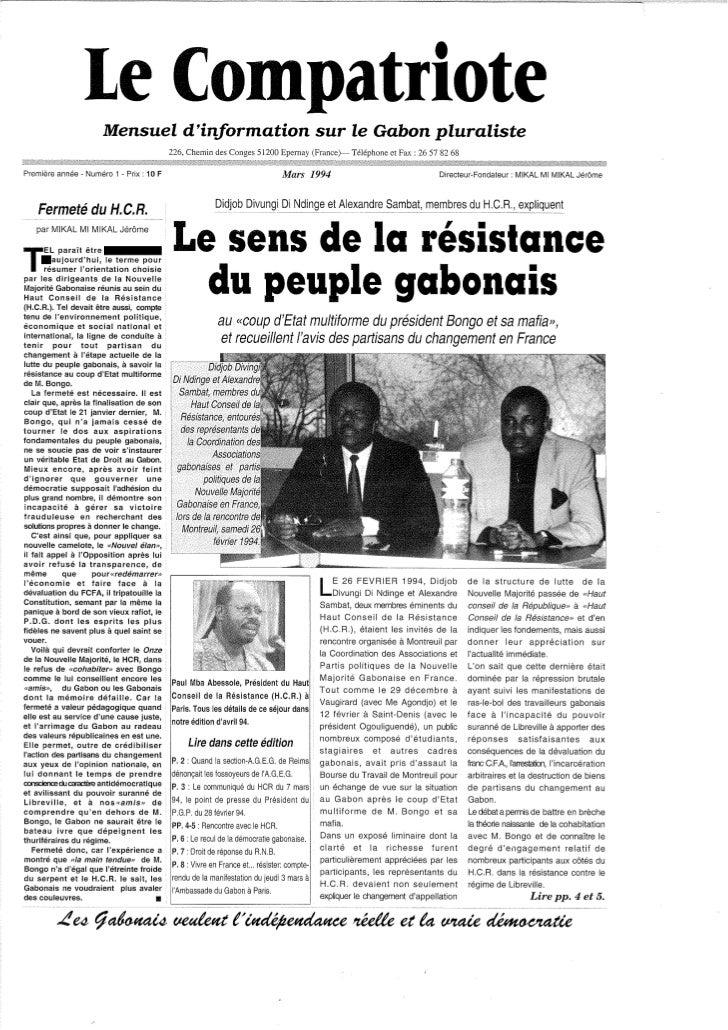 Le Compatriote mensuel d'information, mars1994