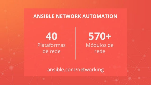 ANSIBLE NETWORK AUTOMATION ansible.com/networking 570+ Módulos de rede 40 Plataformas de rede