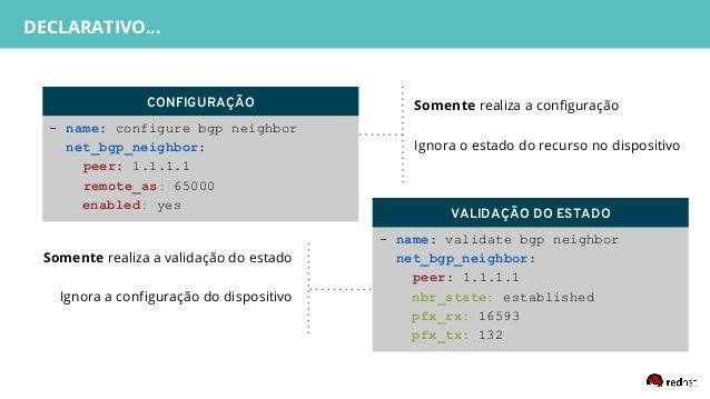 - name: validate bgp neighbor net_bgp_neighbor: peer: 1.1.1.1 nbr_state: established pfx_rx: 16593 pfx_tx: 132 DECLARATIVE...