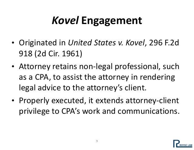 Attorney Client Privilege Kovel