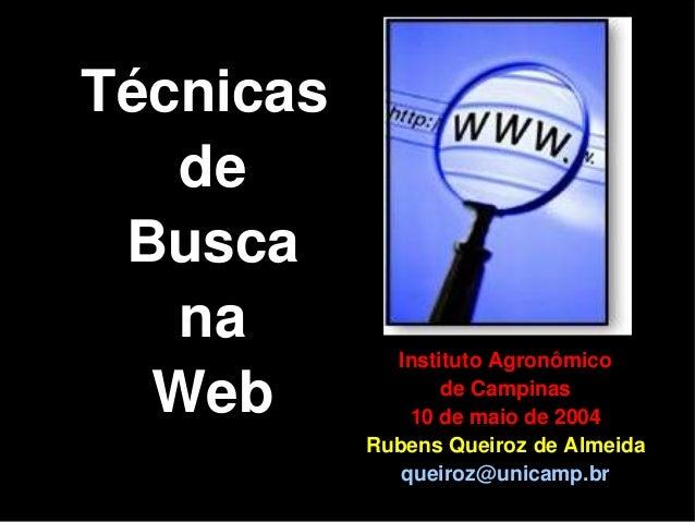 Técnicas de Busca na Web Instituto Agronômico de Campinas 10 de maio de 2004 Rubens Queiroz de Almeida queiroz@unicamp.br