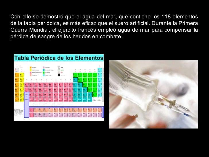 Con ello se demostró que el agua del mar, que contiene los 118 elementos de la tabla periódica, es más eficaz que el suero...