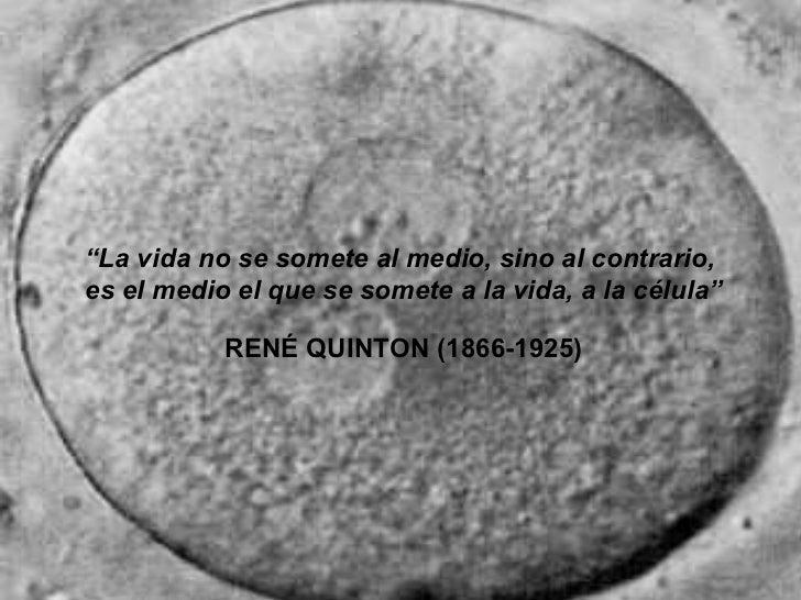 """"""" La vida no se somete al medio, sino al contrario,  es el medio el que se somete a la vida, a la célula"""" RENÉ QUINTON (18..."""