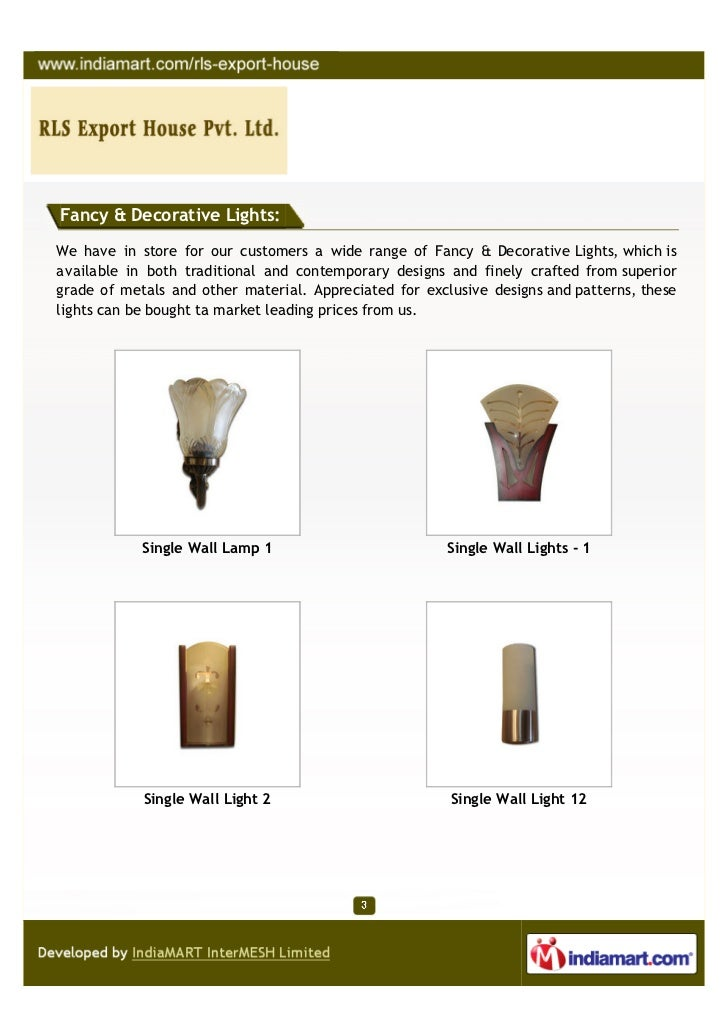 R L S Export House Private Limited New Delhi Single Wall Lamp