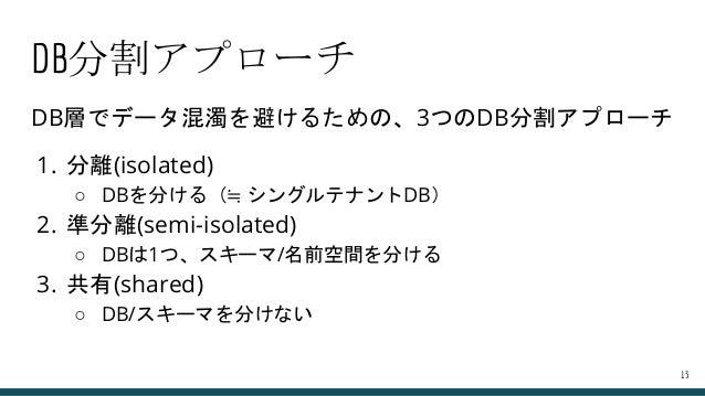 DB分割アプローチ DB層でデータ混濁を避けるための、3つのDB分割アプローチ 1. 分離(isolated) ○ DBを分ける(≒ シングルテナントDB) 2. 準分離(semi-isolated) ○ DBは1つ、スキーマ/名前空間を分ける...