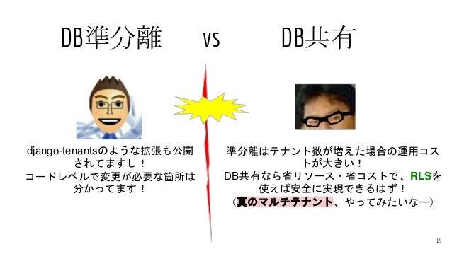 DB準分離 vs DB共有 19 django-tenantsのような拡張も公開 されてますし! コードレベルで変更が必要な箇所は 分かってます! 準分離はテナント数が増えた場合の運用コス トが大きい! DB共有なら省リソース・省コストで、RL...