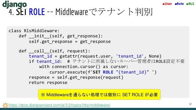 4. SET ROLE -- Middlewareでテナント判別 37 ■User ■Role ■RLS https://docs.djangoproject.com/ja/3.2/topics/http/middleware/ class R...