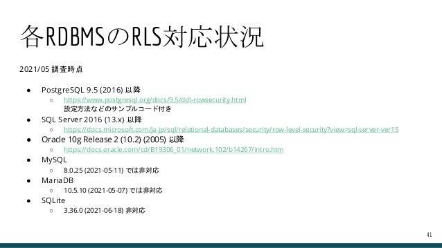各RDBMSのRLS対応状況 2021/05 調査時点 ● PostgreSQL 9.5 (2016) 以降 ○ https://www.postgresql.org/docs/9.5/ddl-rowsecurity.html 設定方法などのサ...