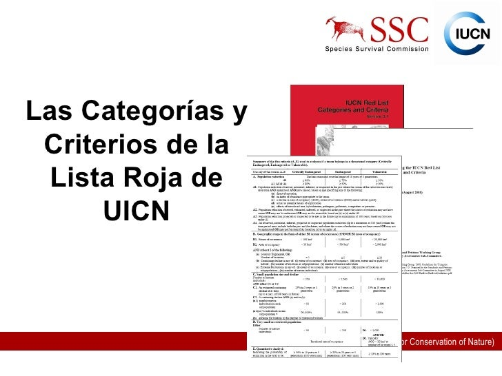 UICN LISTA ROJA PDF DOWNLOAD