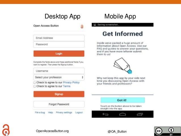OpenAccessButton.org @OA_Button Desktop App Mobile App