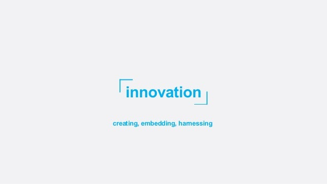 innovation creating, embedding, harnessing