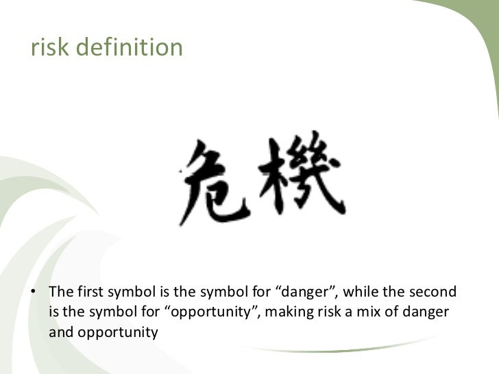 """risk definition• The first symbol is the symbol for """"danger"""", while the second  is the symbol for """"opportunity"""", making ri..."""